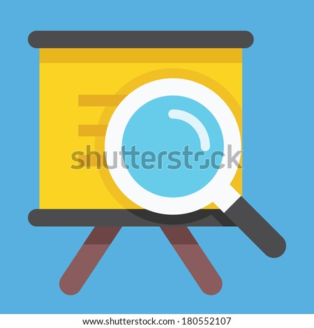 Vector Presentation Board and Magnifying Glass Icon