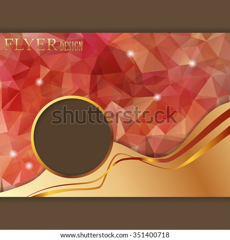 Vector presentation of horizontal business poster, flyer, magazine cover on polygonal background - stock vector