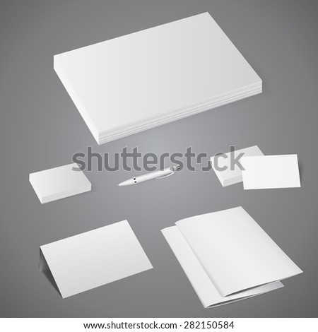 Vector presentation template corporate identity: letterheads, brochures, business cards, pen - stock vector