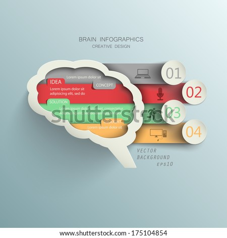 vector presentation template of your thoughts, ideas / paper brain with options for data lines - stock vector