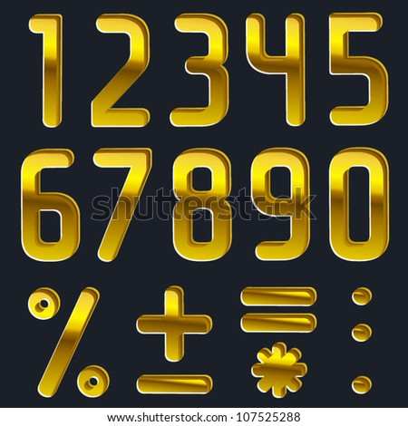 Vector pressed gold font, numbers, digits - stock vector