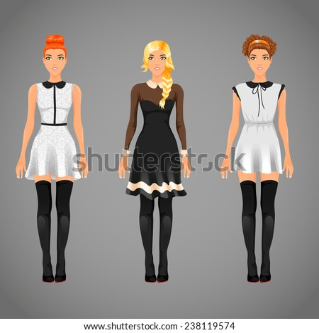 Vector pretty females in different black and white collar dresses - stock vector