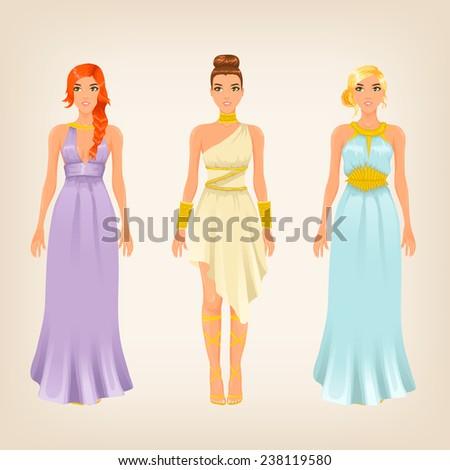 Vector pretty females in greek styled goddess dresses - stock vector