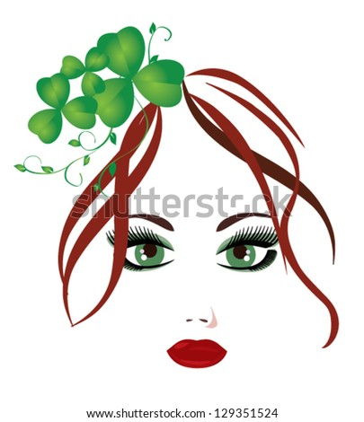 vector pretty girl with shamrock in her hair - stock vector