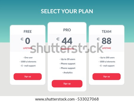 Vector Pricing table template in flat line style. Design element for website. Collection of pricing plans for websites and applications. Hosting table banner. Vector illustration