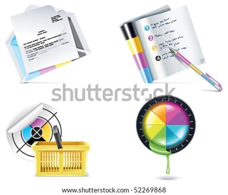 Vector print shop icon set. Part 4 - stock vector