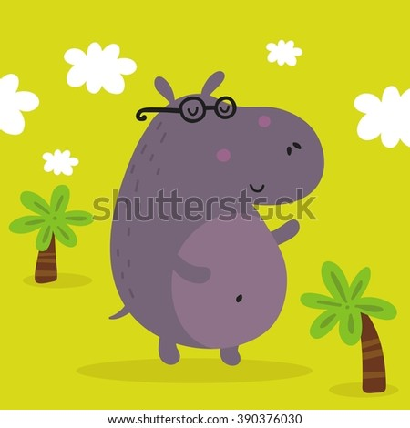 vector print with cute hippo - stock vector