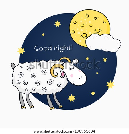 Vector print with images cute sheep on background night sky with moon and wish good night and wish good night - stock vector