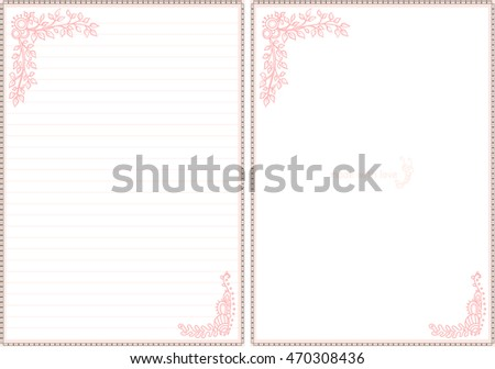 Vector Printable Letter Paper Stationery. Doodle Style. Sweet Seaweeds And  Flower. Note Blank  Printable Letter Paper With Lines