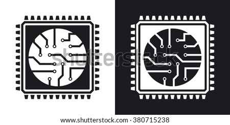 Vector processor icon. Two-tone version on black and white background - stock vector