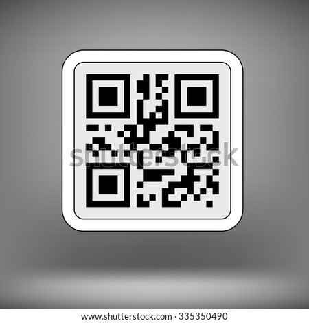 Vector Product Barcode 2d Square Label on Soft Grey Background. Sample QR Code Ready to Scan with Smart Phone