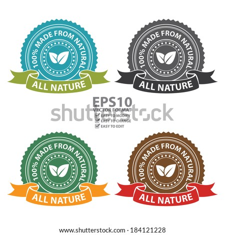 Vector : Product Information Material, Blue, Black, Green and Brown All Nature 100 Percent Made From Natural Sticker, Stamp, Icon, Tag, Badge or Label Isolated on White Background  - stock vector