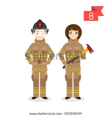 Vector profession characters: man and woman. Firefighter.
