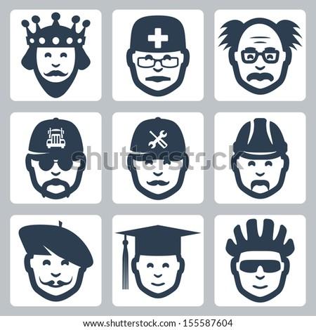 Vector profession icons set: king, doctor, scientist, trucker, repairman, builder, artist, graduating student, cyclist - stock vector