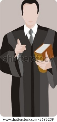 Vector profession series. Chief judge in the court holding a book. Check my portfolio for much more of this series as well as thousands of similar and other great vector items.