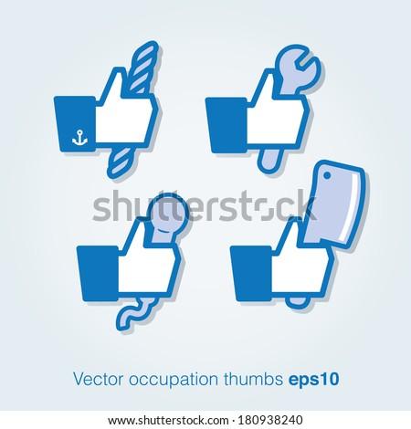 Vector profession thumbs - stock vector
