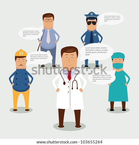 Vector professional occupation set - stock vector