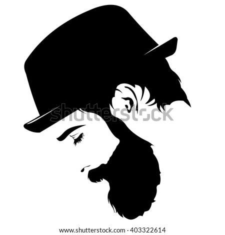 Vector profile view of sad bearded man wearing hat looking down - stock vector