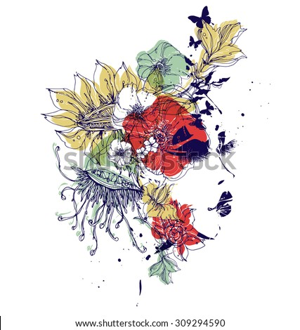 Vector profile with flowers - stock vector