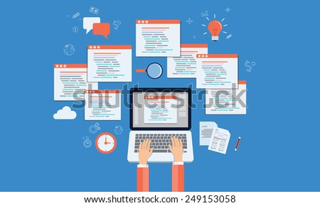 vector programmers develop web site and application on laptop - stock vector