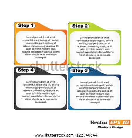 Vector progress steps for tutorial - stock vector