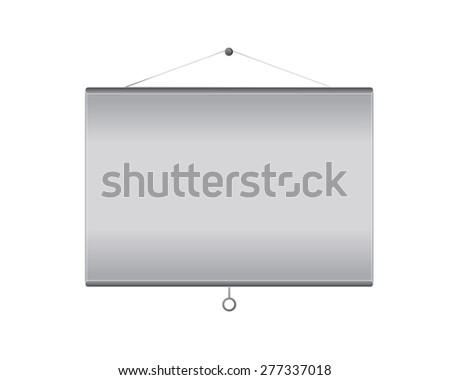 Vector projector screen hanging on wall with empty copy space, template for any presentation. Isolated on white background. - stock vector