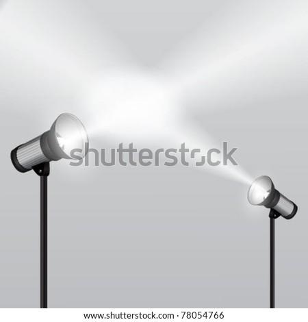 Vector projectors with spotlights - stock vector