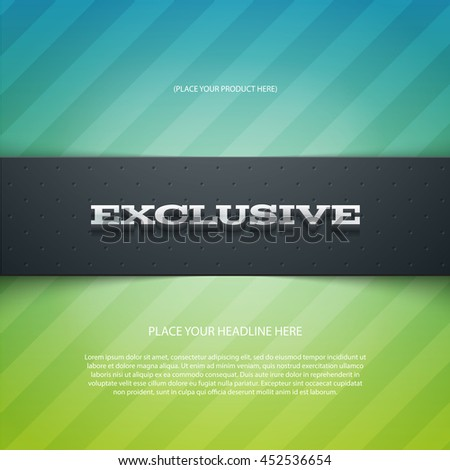 Vector promo banner with shadow and subtle diagonal stripes. Exclusive. Dotted stripe. 3d metallic typography. Flyer design template. Web advertisement. - stock vector
