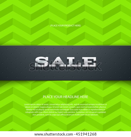 Vector promo banner with shadow. Sale. Dotted leather texture stripe. 3d metallic typography. Flyer design template. Web advertisement. Geometric chevron pattern - stock vector