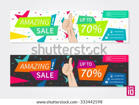 Vector promotion banner Amazing Sale. Business horizontal flyer template.  - stock vector