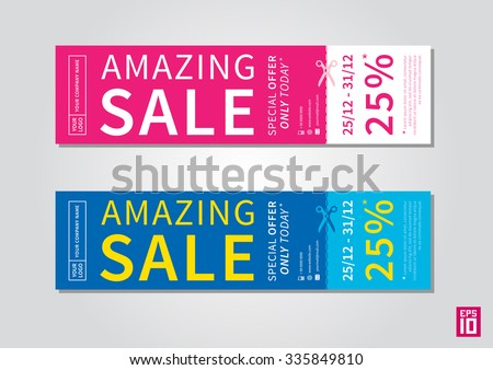 Vector Promotion Banner Amazing Sale With Tear Off Coupon. Promotion Banner Flyer  Template.  Coupon Flyer Template