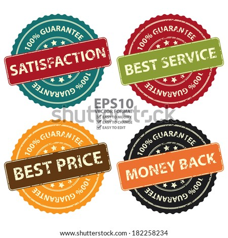 Vector : Promotional or Marketing Material, Sticker, Rubber Stamp, Icon or Label for Satisfaction, Best Service, Best Price and Money Back 100 Percent Guarantee Isolated on White Background  - stock vector