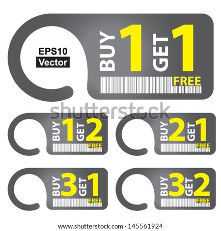Vector : Promotional Sale Labels Set, Present By Gray Sale Tag With Buy 1 Get 1 Free, Buy 1 Get 2 Free, Buy 2 Get 1 Free, Buy 3 Get 1 Free and Buy 3 Get 2 Free Isolated on White Background  - stock vector