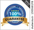 Vector : Promotional Sale Tag, Sticker or Badge, Present By Golden Guarantee Ribbon on Blue Badge With 100 Percent Sign and Satisfaction Text Around Isolated on White Background  - stock vector