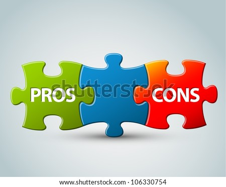 Vector pros and cons compare  model - advantages and disadvantages - stock vector