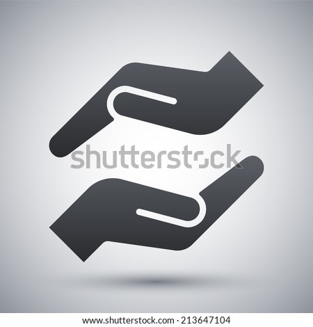 Vector protecting hands icon - stock vector