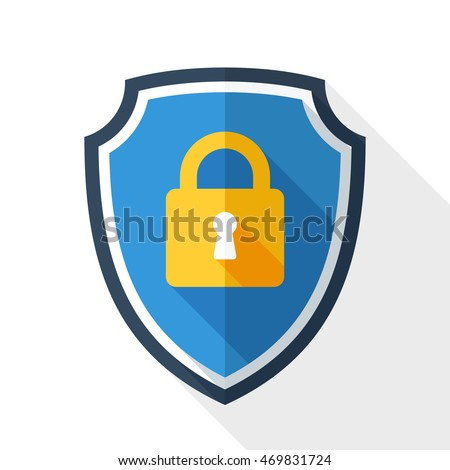 Vector Protective shield icon with the image of a padlock