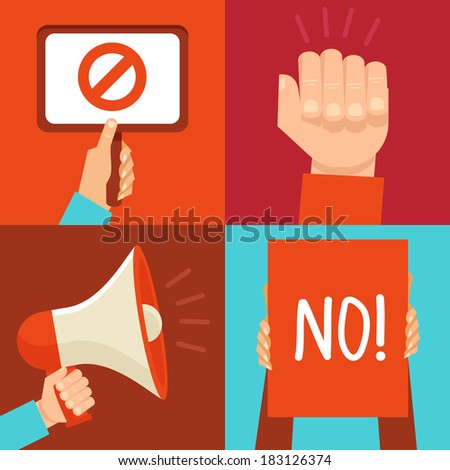 Vector protest signs and icons in flat style - stock vector