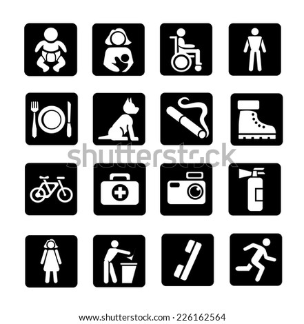 Vector public icons set - stock vector
