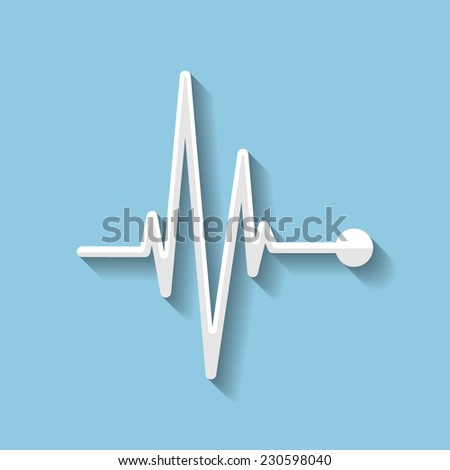 Vector pulse flat icon. Heart beat, cardiogram. Eps 10. - stock vector