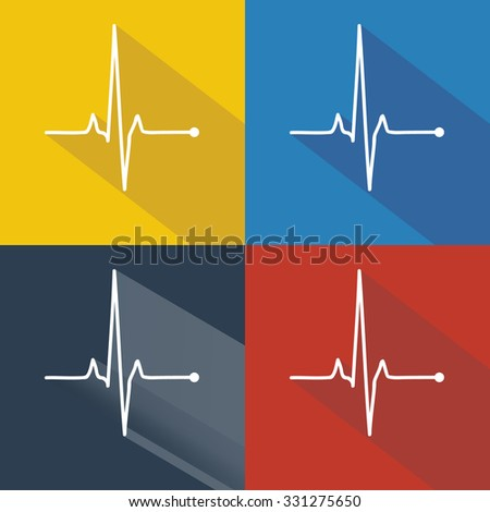 Vector pulse icons set, cardiogram signs, heartbeat icon collection - stock vector