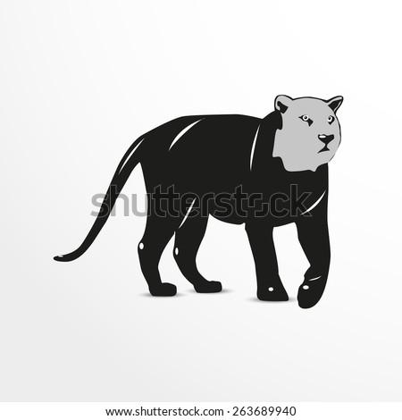 Vector puma web flat icon illustration. - stock vector