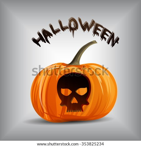 Vector pumpkin portrait with skull for Halloween on background. EPS - stock vector
