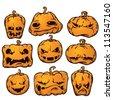 vector pumpkin set - stock photo