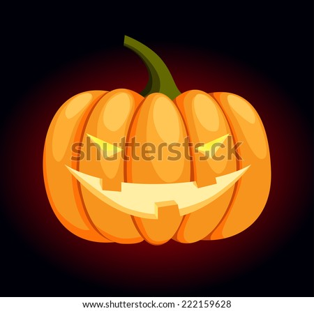 Vector pumpkin with an evil face for Halloween - stock vector