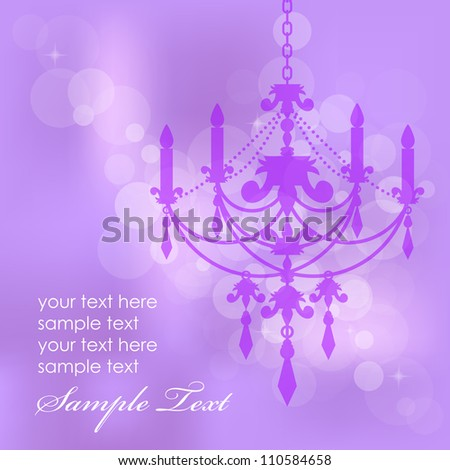 Vector purple background with chandelier