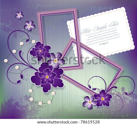 Vector purple background with flowers , two frames for photos and greeting cards - stock vector