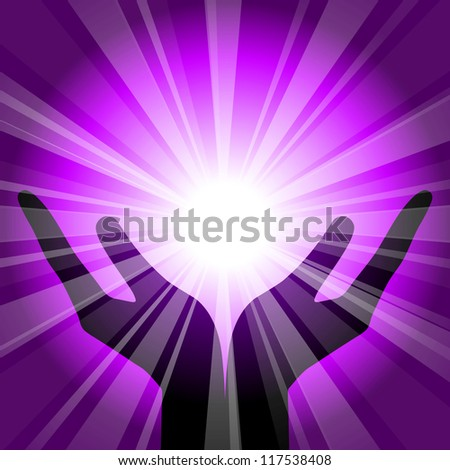 Vector purple background with hands - stock vector