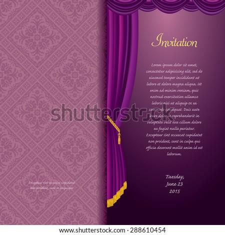 vector purple baroque invitation card - stock vector