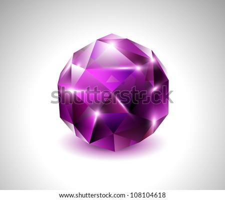 vector purple beautiful gemstone - stock vector